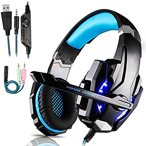 WN-PZF Gaming Headset pour PS4, Stéréo Surround Gaming Casque avec Microphone, Casque avec LED Noise Cancelling Casque pour PS4 / Xbox One S/Xbox One/Nintendo Switch/PC/Mac