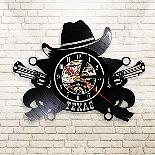 Texas Cowboy Western USA Skyline Reloj de Pared Símbolo Reloj de Pared de Vinilo Reloj de Pared Western Wild Vintage Vintage Rodeo Revolvers Reloj de Pared