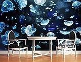 DKMDT Papel tapiz mural 3D personalizado Sala Livig, Acuario del Grupo de Medusas Mundo Subacuático