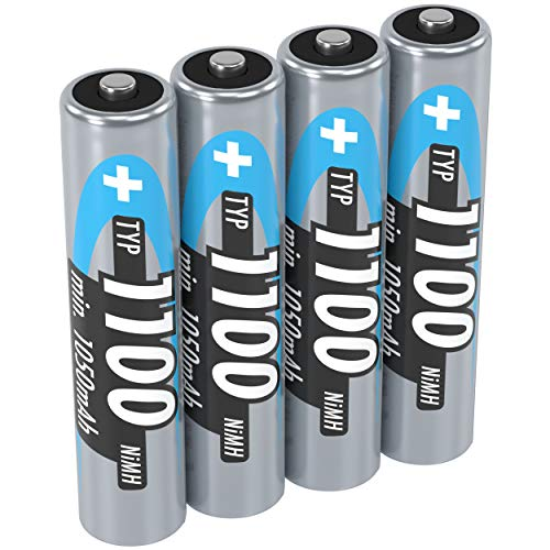 ANSMANN Akku AAA Typ 1100 mAh (min. 1050 mAh) NiMH 1,2 V (4 Stück) - Micro AAA Batterien wiederaufladbar, hohe Kapazität für hohen Strombedarf