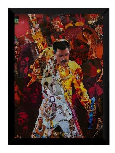 Quadro Banda Queen Freddie Mercury Arte Moldura 42x29cm