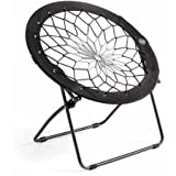 Bunjo Chairs 32' Flexible and Steel Frame Gaming Camping Folding Chair in Black