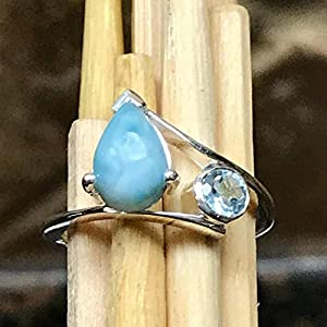 Pear Shaped Larimar Sterling Silver Ring