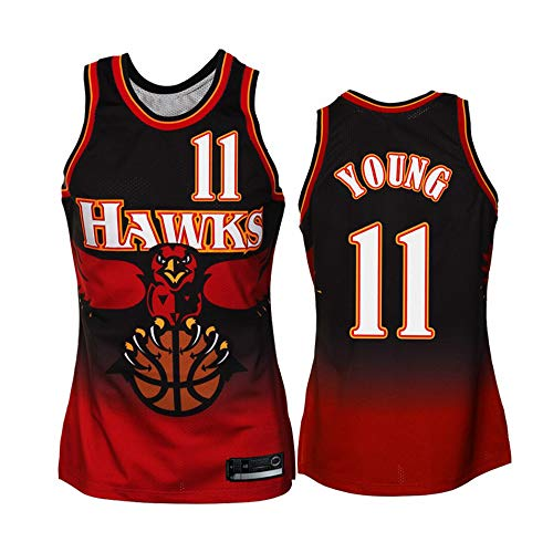 BXWA-Sports Trae Young Basketball NBA Jersey Atlanta Hawks # 11 Jerseys Transpirable sin Mangas Retro Deportes Camiseta Malla Neutra Sudadera roja,M