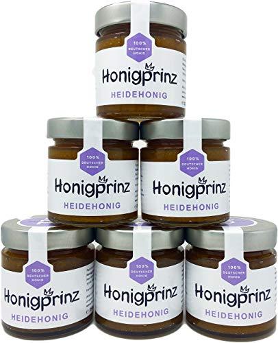 Honig Heidehonig 100% Deutscher Blütenhonig [6 x 250 Gramm] Honig Heide ursprünglicher und natürlicher Honiggenuss, Honigprinz Familien - Imkerei