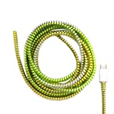 Cable Protector Animal Proof Wire Repair, Cord Protector for Pets Headphone Saver Spiral Cable Wrap Strain Relief, Cord Sleeve for Phone Cable USB Date Cable, 60 inches, 2 pcs, Silver-Green-Yellow