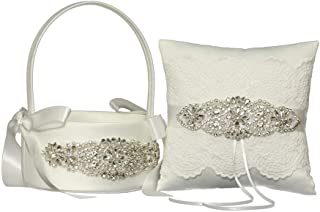 LAPUDA Beautiful Hand Beading of Wedding Flower Basket and Ring Pillow with Elegant Appearance and Ivory Color(1 Basket and 1 Pillow)