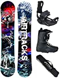 AIRTRACKS Snowboard Set - Planche Fantasy Wide 158 - Fixations Master - Softboots...
