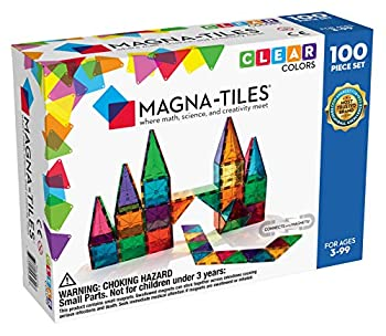 Magna-Tiles 100-Piece Clear Colors Set The Original Magnetic Building Tiles For Creative Open-Ended Play Educational Toys For Children Ages 3 Years +