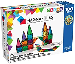 Magna-Tiles 100-Piece Clear Colors Set, The Original Magnetic Building Tiles For Creative Open-Ended Play, Educational Toys For Children Ages 3 Years +