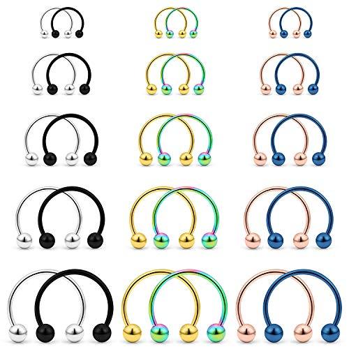 Yaalozei 30PCS 20G Nose Rings Hoop Stainless Steel Horseshoes Nose Hoop Rings Septum Rings Septum Jewelry Cartilage Helix Tragus Daith Rook Earring Body Piercing Jewelry for Women Men