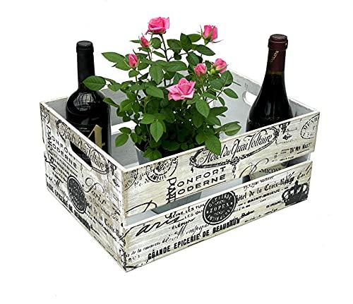 DanDiBo Caja de madera vintage de 40 cm, caja de fruta L, caja de vino antigua, decorativa de madera, 96176, color blanco y negro, con patrón