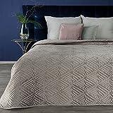 Eurofirany Tagesdecke Deniz Gesteppter Bettüberwurf Velvet Gespteppte Decke Ganzjährige Glänzende Steppdecke Bester Qualität Quilt XL (Beige)