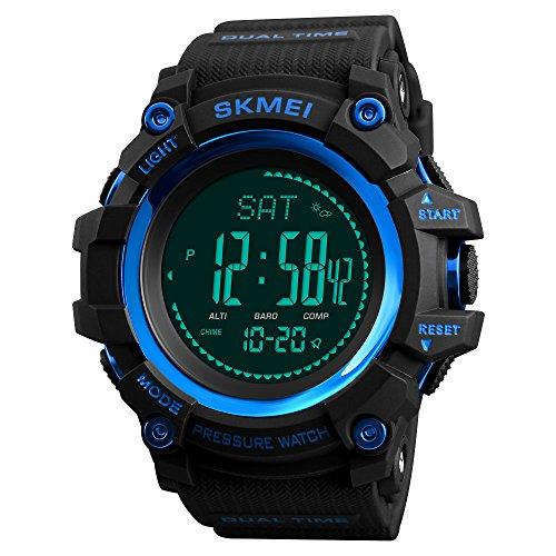 FeiWen Multifuncional Brújula Relojes de Pulsera de Hombre Deportivo Digitales Outdoor Militar Tácticas Plástico Bisel con Goma Correa Pulsómetro Altímetro Termómetro Simple Reloj