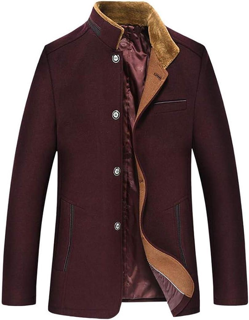 MMCICI Mens Wool Blend Pea Coats Windproof Winter Warm Woolen Jackets