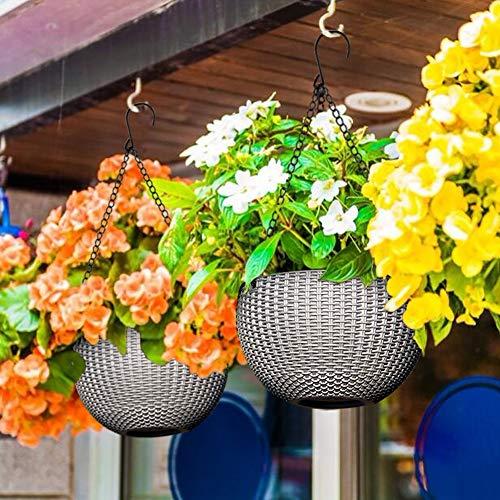BUZIFU 2 Stück Plastik Blumenampeln, Selbstbewässerung Hängepflanztöpfe Blumenampel Hängen Balkon Blumenampel Rattan Blumentopf Hängetopf für Innen- und Außenbereiche (Grau)