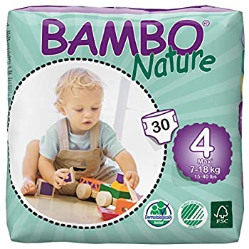 Bambo Nature Baby Diapers Classic Size 4  15-40 Lbs  30 Count