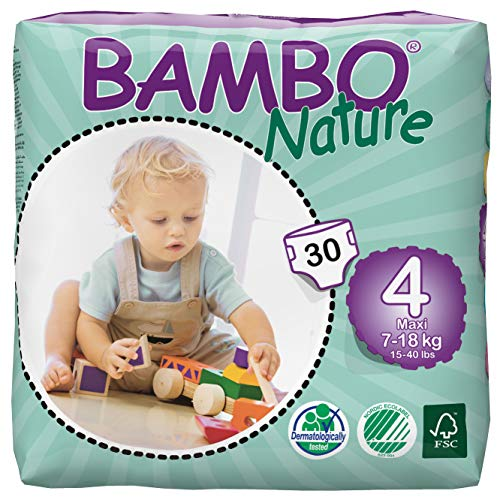 Bambo Nature Baby Diapers Classic, Size 4 (15-40 Lbs), 30 Count