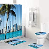 YCHY Shower Curtain Sets with Non-Slip Rugs,Toilet Lid Cover and Bath Mat,Coastal Miami Downtown with Biscayne Bay Buildings and Palm Tree Panoramic Scene,Shower Curtain Set Waterproof Bath Curtains