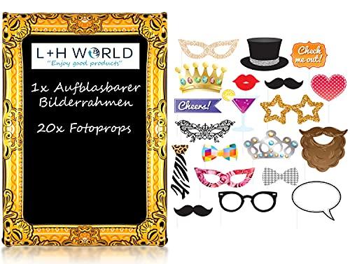 L+H - Cornice portafoto gonfiabile XXL con 20 accessori di scena, 85 x 60 cm e kit di accessori per foto, ideale per macchina fotografica, selfie, sessioni, feste, matrimoni, Capodanno