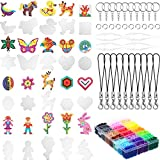 Fuse Beads Craft Kit, 20 Patterns Pegboards 24 Colored Beads Arts, 10 Pieces Lobster Claw Clasp, 10 Pieces Keychain, 5 Sheets Ironing Paper for Boys Girls DIY Classroom Activity