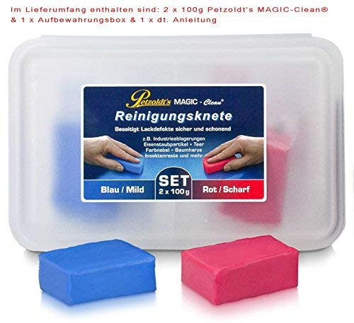 2x 100 Gramm Petzoldt's Profi-Reinigungsknete MAGIC-Clean, Blau und Rot