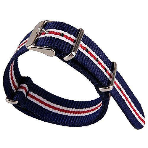 Azul blanco y rojo 3 colores rayas patrón nylon tela lona banda...