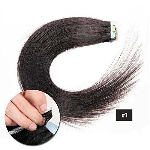 Forever Young transparente Bande en 100% vierges Extensions de cheveux humains 45,7 cm de long 30 g par lot Noir de jais 1 #