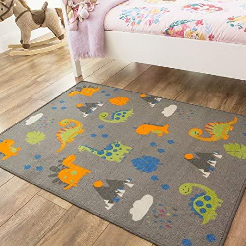 The Rug House Alfombra para niños con diseño de Dinosaurios, en Colores Gris, Naranja y Verde, para el área de Juego de los niños.
