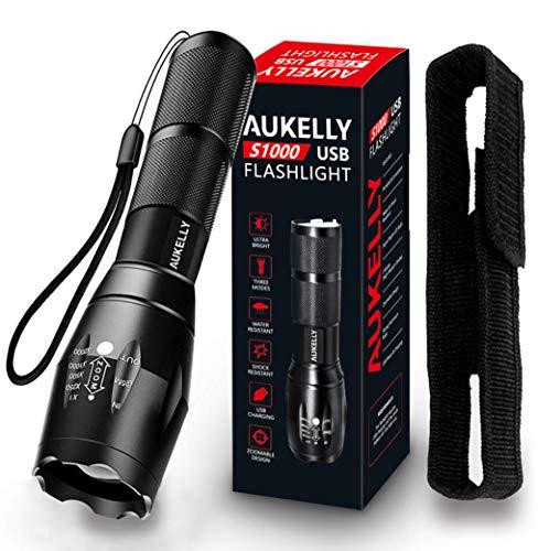 AUKELLY LED Linterna USB Recargable Linternas Alta Potencia Tactica Linterna Militar,Impermeable Linternas,3 Modo,Zoomable,para Ciclismo,Camping,con 18650 Batería Incorporada