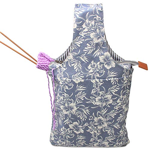Teamoy Knitting Bag, Canvas Yarn Tote Project Bag for Knitting Needles, Yarn and Crochet Supplies, Perfect Size for Knitting on The Go, Blue Flowers