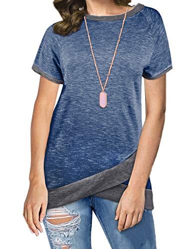 Odosalii Damen Langarm Patchwork Sweatshirt Pullover Casual T-Shirt Asymmetrisch Saum Tunika Tops,B_königsblau,XL