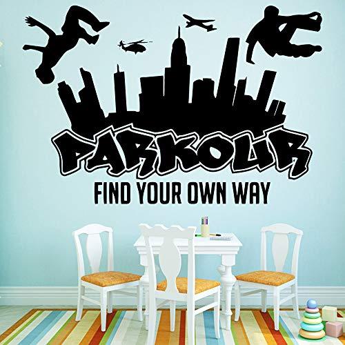 YSNMM Muurstickers Grappig Parkour Huis Decoratie Accessoires Woonkamer Kids Kamer Vinyl Art Decal