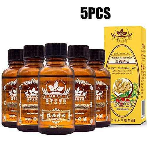 Ingweröl, Ingwer ätherisches Öl, Spa Massageöle, Pflanzliches ätherisches Öl, Lymphatic Drainage Ingwer ätherisches Öl [ 100% PURE Natural ] 30ml * 5St