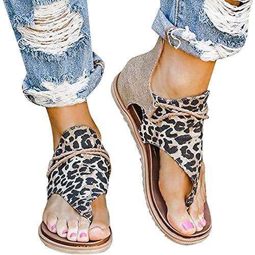 YUEBAOBEI Sandalias De Mujer, Verano Plana Moda Mujer Chanclas Playa Calzado Comodas, Verano Alpargatas De Punta Abierta,A,38