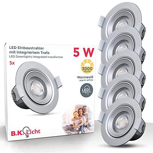 Preisvergleich Produktbild LED Einbaustrahler Inkl. 5 x 5W 350lm LED Modul IP23 schwenkbare 3000K warmweiße Einbauleuchten silber
