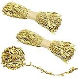 YuCool - Cinta de hojas de arpillera de 5 mm para colgar en la pared, cuerda de yute natural con hojas artificiales doradas para el hogar, jardín, decoraciones de embalaje y decoración de manualidades