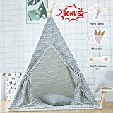 little dove Kid's Foldable Teepee Play Tent Grey Arrow with Banner, Fairy Lights, Feathers NO MAT