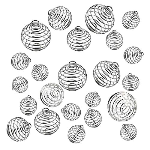 30 PCs 3 Sizes Silver Plated Spiral Bead Cages Pendants Stone Holder Necklace Cage Pendants Findings for Jewelry Making and Crafting