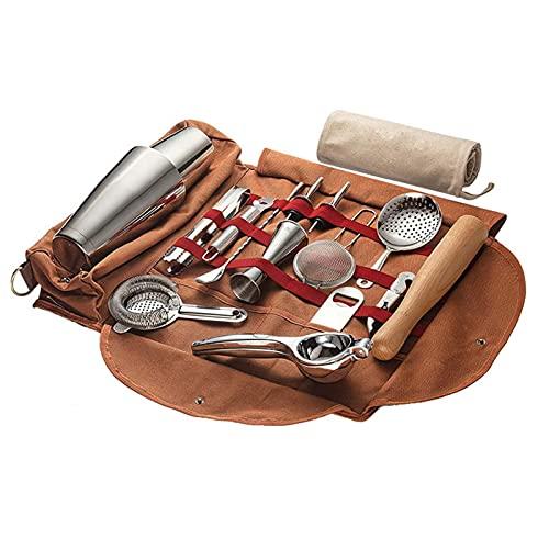 Bolsa de viaje para equipo de camarero   Juego de herramientas de barra profesional de 16 piezas con elegante bolsa de barra portátil y correa para el hombro para un fácil transporte y almacenamiento