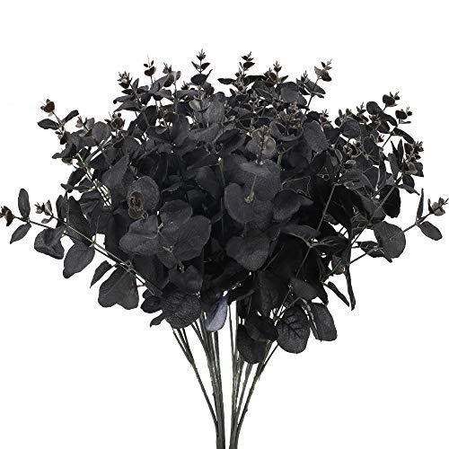NAHUAA 2Pcs Künstliche Pflanze Schwarz Dollar Blätter Kunstpflanzen Plastik Pflanzen Künstlich Grünpflanzen für Balkon Garten Drinnen Draußen Frühling Fensterbank Deko Schwarz