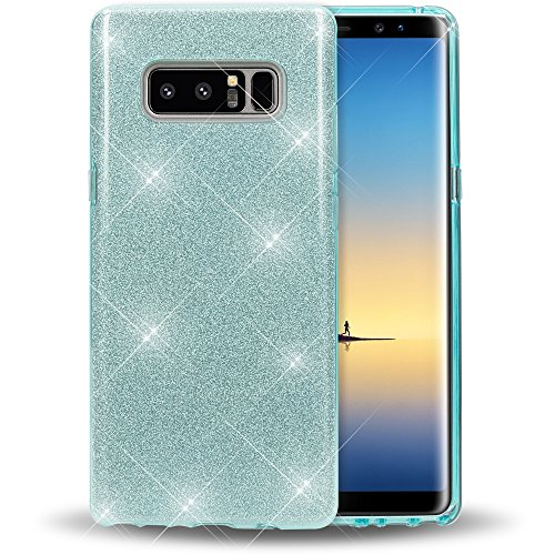 NALIA Custodia compatibile con Samsung Galaxy Note 8, Glitter Copertura in Silicone Protezione Sottile per Cellulare, Slim Cover Case Protettiva Scintillio Telefono Bumper, Colore:Turchese