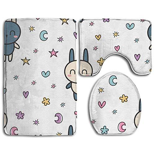 N\A Juego de Cojines de Alfombra de baño de Moda Love Star of The Lovely Rabbit Personalizado 3 cojín de baño Antideslizante + Contorno + Funda de Inodoro
