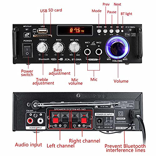 Etlephe Amplificador Audio,Amplificador HiFi,Amplificador Bluetooth 5.0,600W 2CH Pantalla LCD de Alta fidelidad, FM Radio Portátil SD Card/USB Input/FM Radio, para el hogar o tu Coche(Negro)