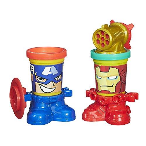 Play-Doh – Marvel Can-Heads – Captain America et Iron Man – 2 Pots + Accessoires