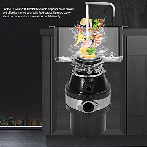 Cocoarm Trituradora de Alimentos Triturador de Basura, 0.5 HP 50Hz 1L Capacidad Cubo de Basura Residuos de Cocina Comida Triturador Tliminador de Residuos