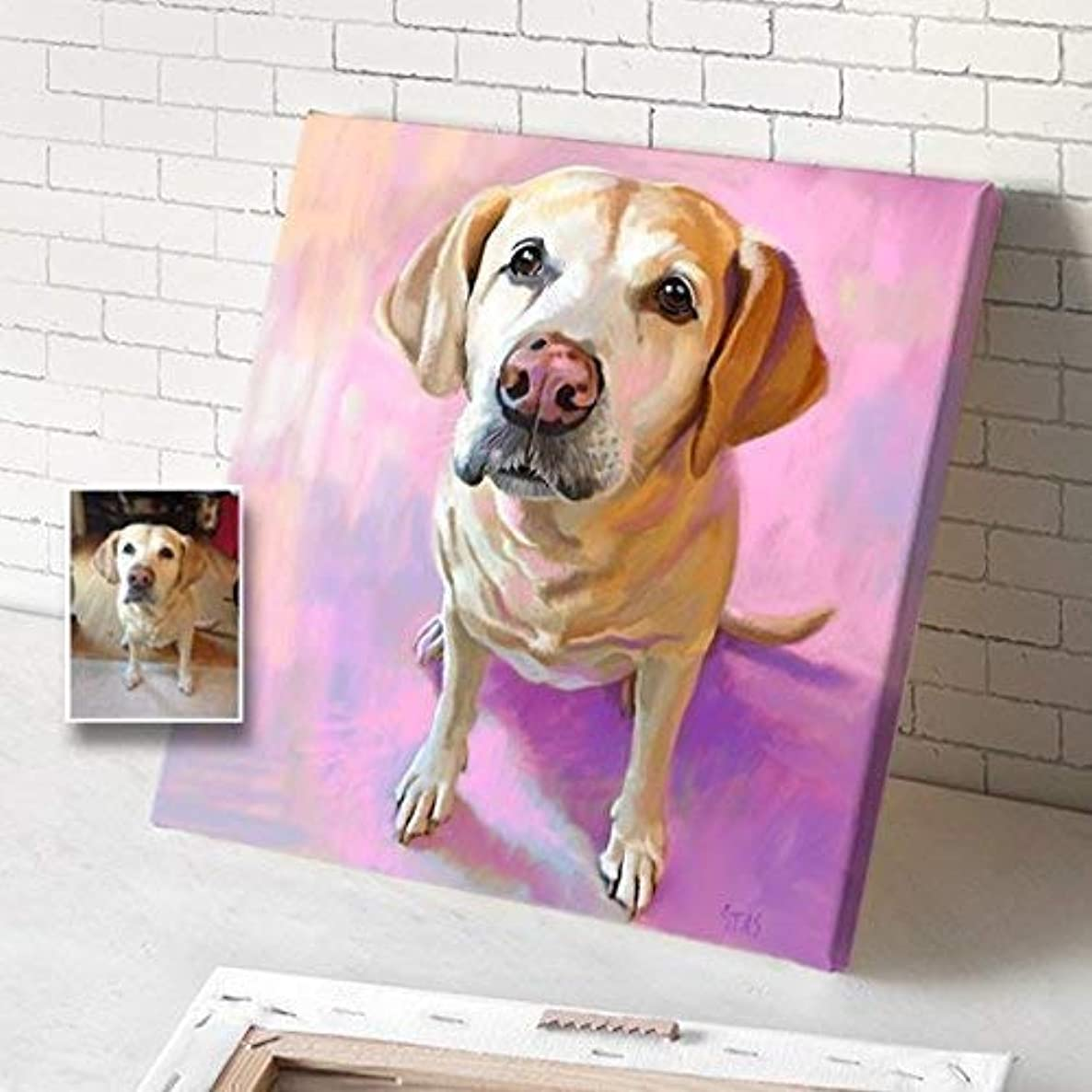 Custom Dog Portrait On Canvas, Portrait From Photo, Personalized Customized Acrylic Oil Watercolor Painting, Dog Canvas