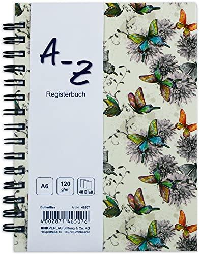 RNK 46507 - Notizbuch, DIN A5, mit Register A-Z, Butterflies