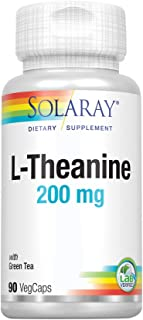 Solaray L-Theanine 200mg w/Green Tea Leaf 100mg | Relaxation, Stress, Mood & Focus Support w/Out Drowsiness | Lab Verified...