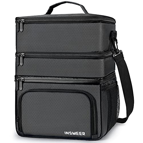 3 Compartments Mens Insulated Lunch Bag, Large Lunch Box Cooler...